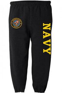 Us Navy Sweatpants Men S Size Black Yellow Sweat Pants Sweats Track