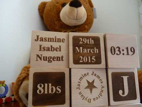 Christening wooden baby building blocks Personalised Baptism Gift