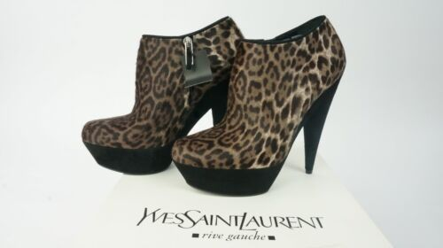 Yves Saint Laurent YSL Aliama 105 Ankle Boot Small Leopard Print BNWB Size 6 UK