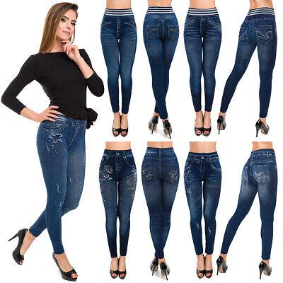 2XL 3XL Blue Sizes S-M Women/'s Genie Slim Jeggings Denim Stretch Leggings
