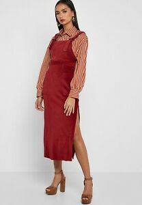 later limited quantity size 40 Details about BNWT Topshop Pinafore Dress Size 8 Midi Cord Burgundy Red Leg  Split Pocket Strap