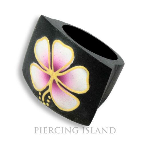 Noble Hibiscus anillo negro madera de naturaleza Wood joyas lila floración ar126a