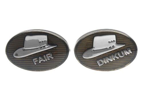 Fair Dinkum Hat Pair Cufflinks Australia Wedding Gift Box /& Polishing Cloth
