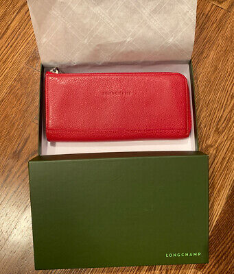 Longchamp Le Foulonné Leather Long Zip Around Wallet Red NEW | eBay