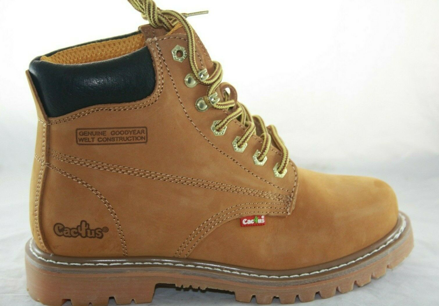 MEN'S CACTUS 611 TAN WORK BOOTS OIL RESISTANT NUBUCK LEATHER RUBBER OUTSOLE