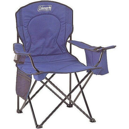 Coleman Portable Oversized Quad Chair with  Cooler Pouch, Outdoor Camping Beach  new listing