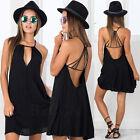 Sexy Women Backless Summer Dress Chiffon Evening Party Beach Mini Dress Sundress