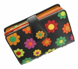 Purse Leather Daisy Ladies With Collection Tab Ds82 Visconti Black Closure Spanish qHnUwXTT