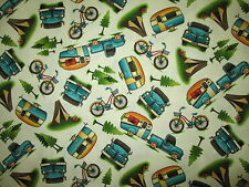 RETRO TRAILERS RV CAMPERS TRUCK BICYCLE CREAM COTTON FABRIC FQ