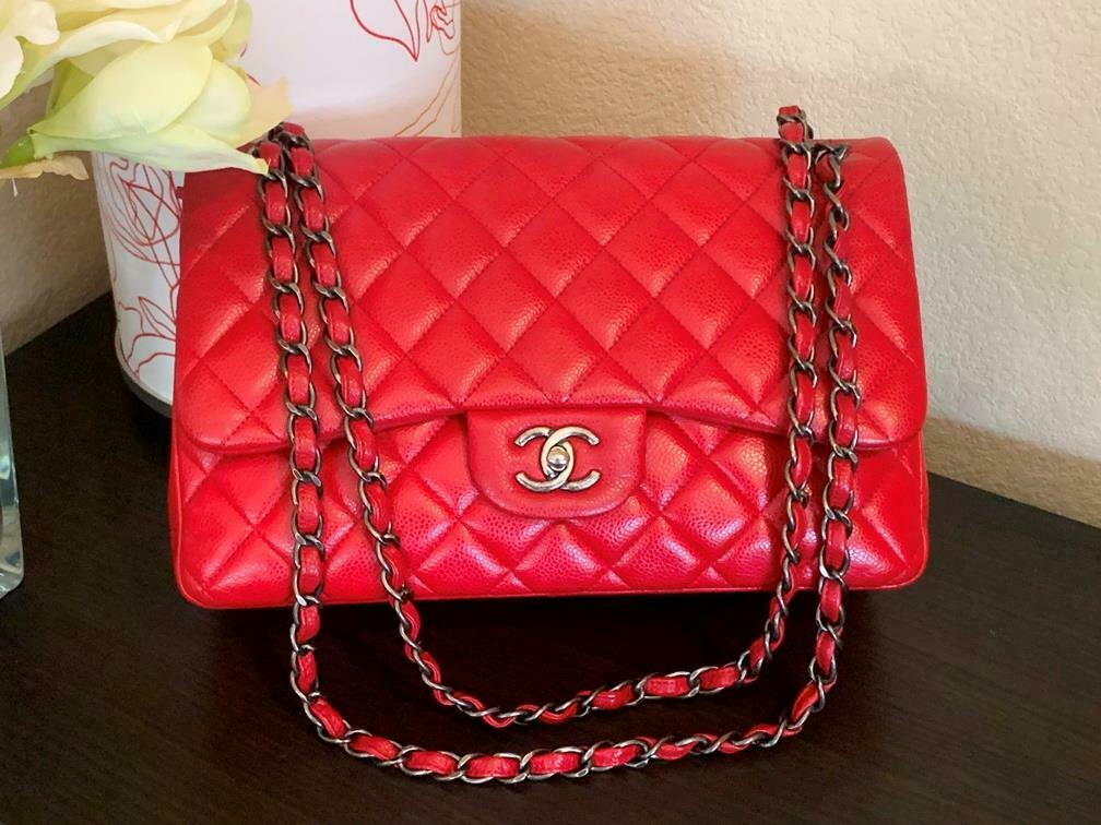 Authentic Chanel Classic Jumbo Red Caviar Double … - image 2