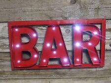 """Funky Retrò illuminare Muro Segno """"BAR"""" Decorazione da Parete Pub Bar Segno batterie AA"""