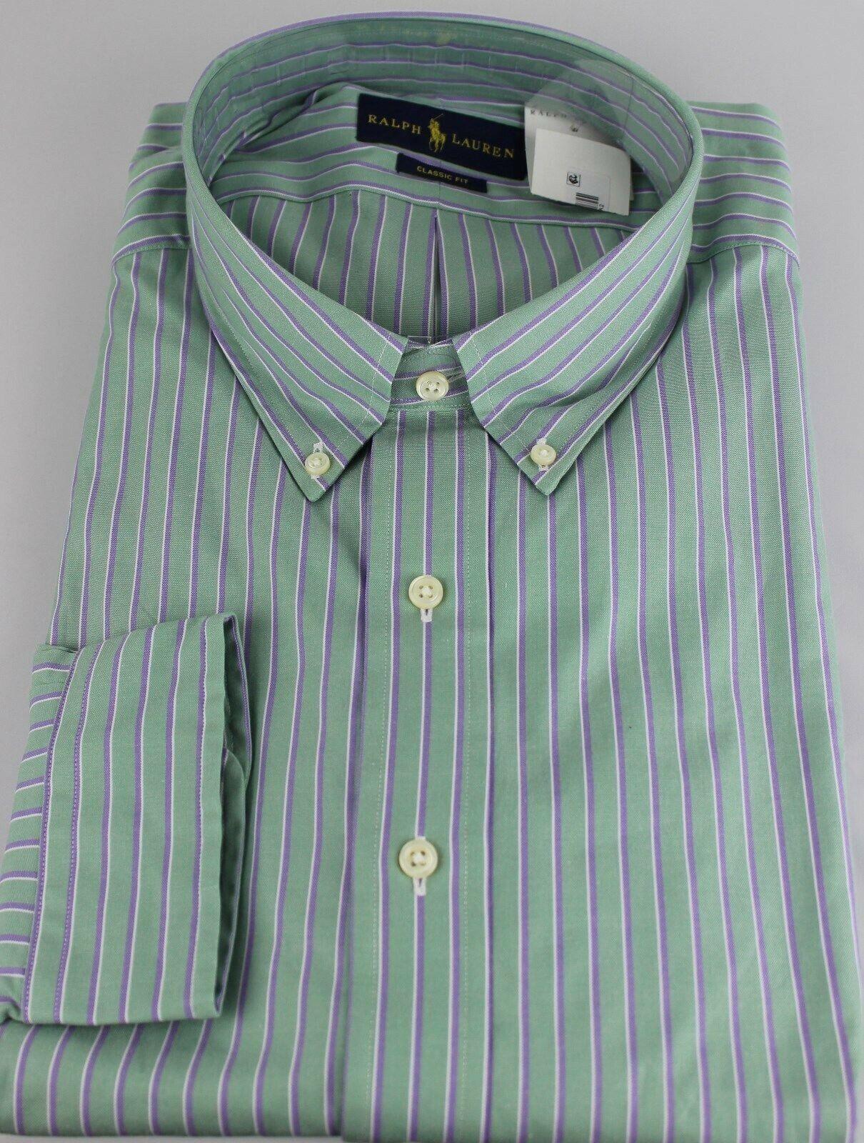 Polo Ralph Lauren Dress Shirt Mens 22 34 35 Classic Fit Green Purple White