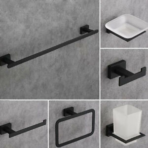 6 Pcs Black Bathroom Accessories Towel, Black Bathroom Accessory Set