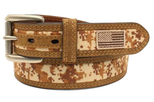 Ariat Western Mens Belt Leather Embroidered USA Flag Patch Camo Tan A1035044