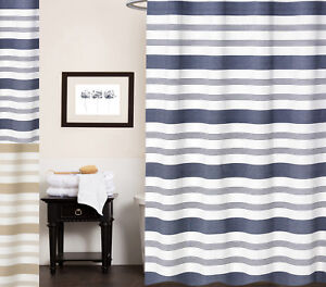 Nowell-100-Cotton-Fabric-Striped-Shower-Curtain-70-034-x-72-034
