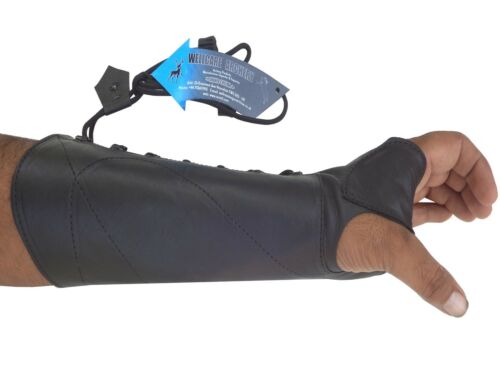 SHOOTING ARM GUARD MADE WITH BLACK COW LEATHER ARCHERY PRODUCTS AG8400 L-HAND.