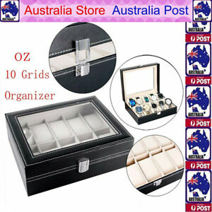 10-Grids-Watch-Box-Leather-Jewelry-Display-Storage-Holder-Case-Organizer-Gift-AU