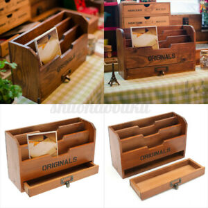 Wooden-Letter-Photos-Rack-Drawer-Chic-Vintage-Tray-Desk-Files-Organiser-Tidy-US