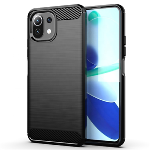 Xiaomi Mi 11 Lite 5G Schutzhülle Silikon Case Carbon Look schwarz Slim Cover