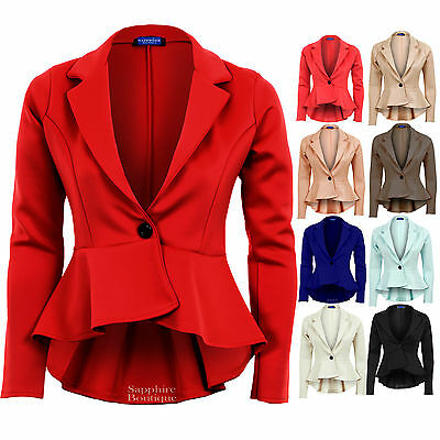 New Ladies High Low Peplum Frill Smart Work Office Fitted Women's Blazer Jacket