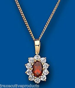 Yellow-Gold-Garnet-Pendant-Oval-Cluster-Natural-Stones-18-034-Chain-Hallmarked