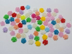 500-Mixed-Color-Flatback-Resin-Floral-Mini-Flower-Cabochons-5mm-DIY-Craft