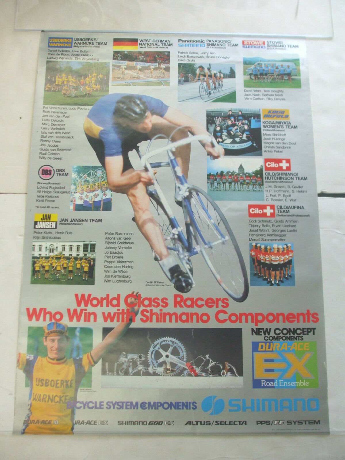 1980 Shimano Radfahren Components World Class Racer Teams & Willems Store Poster