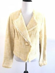 CAbi Womens Daisy Tweed Blazers Size L Fringe Cropped Yellow One Button Jacket