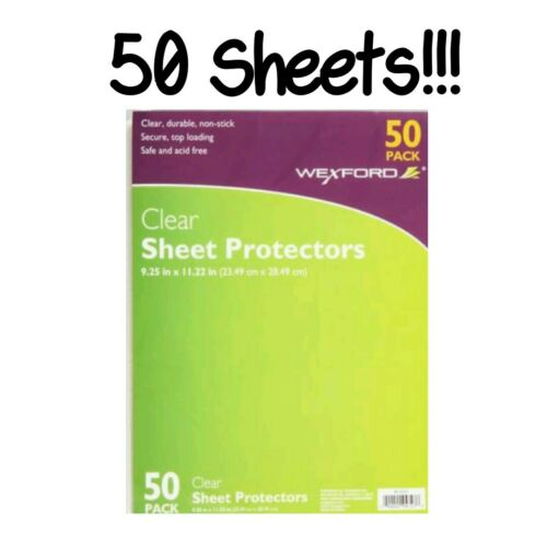 "Wexford Sheet Protectors Clear Durable 9.25/"" x 11.22/"" 50 Pack 3 Ring Binders New"