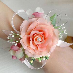Bridesmaid Silk Flowers Wrist Corsage Wedding Party Rose Bracelet