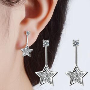 Women-Jewellery-925-Sterling-Silver-Crystal-Zircon-Star-Ear-Stud-Drop-Earrings