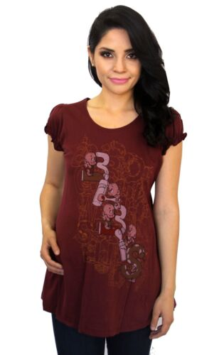 Burgundy Maternity BABIES Tee Pregnancy Top Short Sleeve Solid Graphic Funny