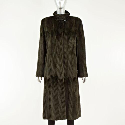 Olive S Size Laser Coat Vintagefurs Mink Cut xUwnnp75