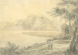 Mary Anne Baignis - c.1825 Graphite Drawing, Lakeside View