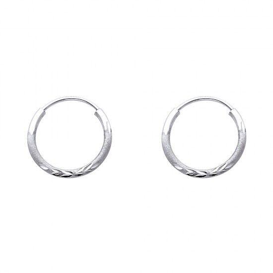 14k White gold Fancy Designer Hollow Light Diamond Cut Hoop Earrings 1.5 mm
