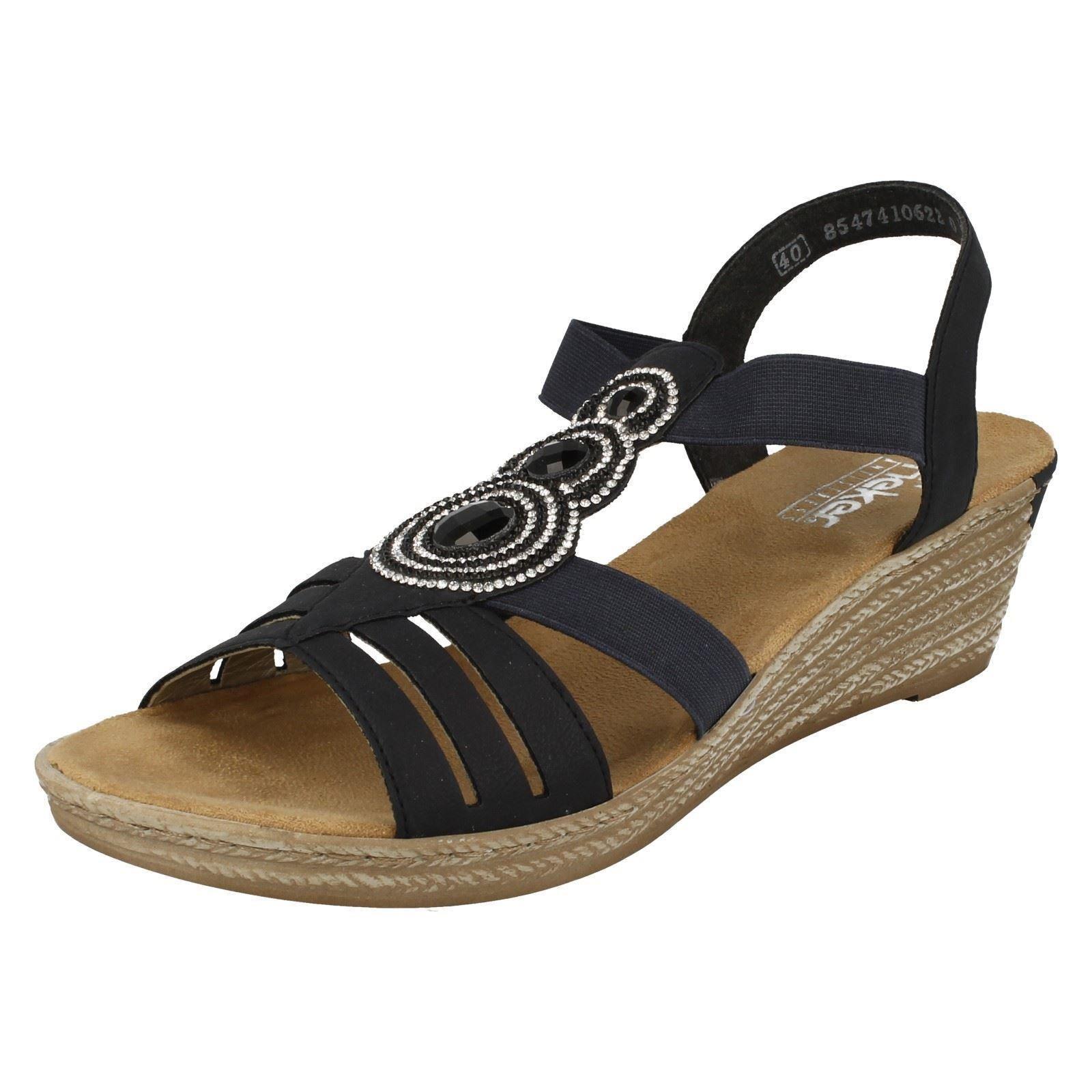 Ladies bluee   Grey Diamante Open Toe Toe Toe Wedge Rieker Sandals 62459 33b306
