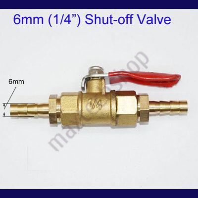 "1//8/"" 4mm Brass Union Flow Shut off Ball Valve Fitting Hose Barb Fuel Gas Water"