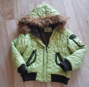 New York 0d23d 5acf1 Dettagli su Piumino invernale Bambina verde,giubotto giacca invernale  cappuccio pelliccia