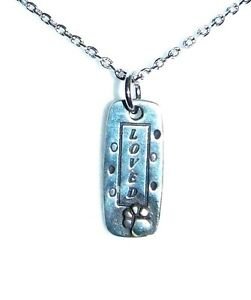 Unique-034-Loved-034-Paw-Print-Pewter-Pendant-with-18-Inch-Silver-Plated-Chain