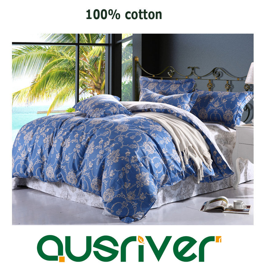 Premium Europe Style Single Double Queen K Bed Quilt Duvet Doona Cover Set bluee