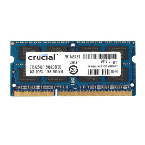 Crucial 4GB 2RX8 PC3-8500S DDR3 1066MHz 204pin CL7 Laptop SO-DIMM RAM Memory @5H