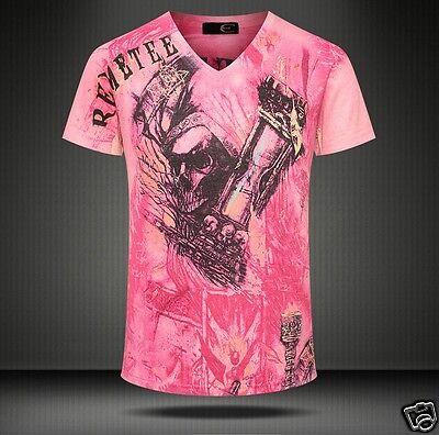 Mens V-neck Skull 3D Print Punk Rock Short Sleeve Summer T-Shirt Tee Tops