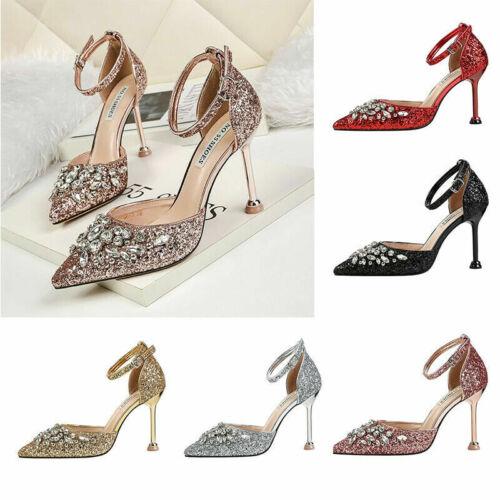 Ladies Party Strap 3-7.5 Ankle Bridal High Diamante Shoes Heel Women Size Sandal