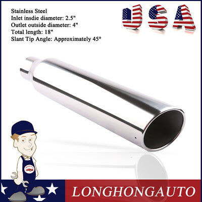 "2X Direct Bolt Stainless Steel Diesel Exhaust Tip 2.5/"" Inlet 4/"" Outlet 18/"" Long"