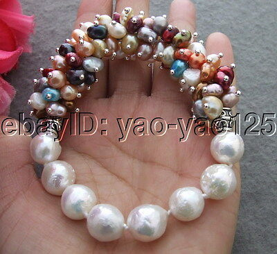 Q110709 New! 11mm Bead-Nucleated Pearl Bracelet