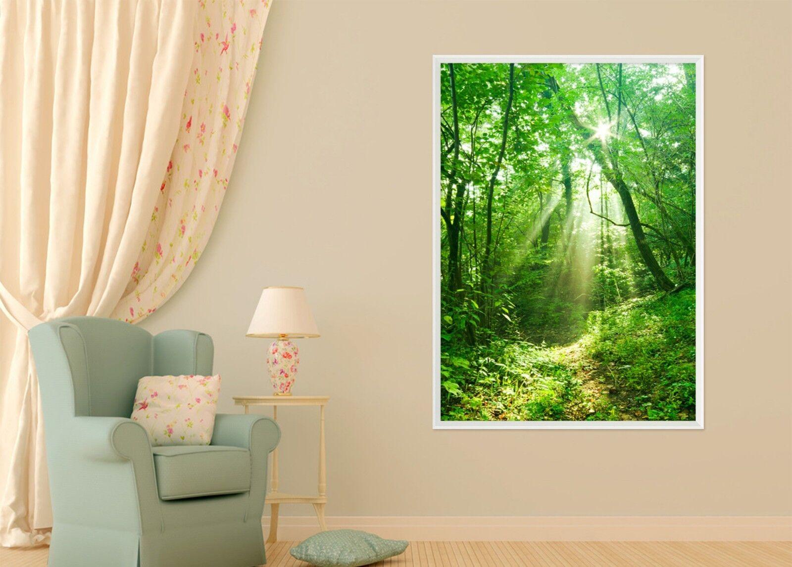 3D Sunshine Forest Road 47 Framed Poster Home Decor Print Painting Art AJ