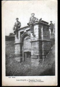 SALONIQUE-GRECE-MILITAIRES-a-la-FONTAINE-TURQUE-animee-en-1917