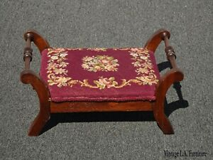 Vintage-French-Provincial-Red-Burgundy-Floral-Tapestry-Needlepoint-Footstool