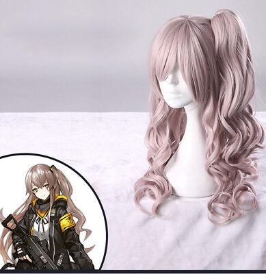 Girls/' Frontline Hair Wig UMP45 UMP9 Cosplay Costume 60cm Curl Anime Game