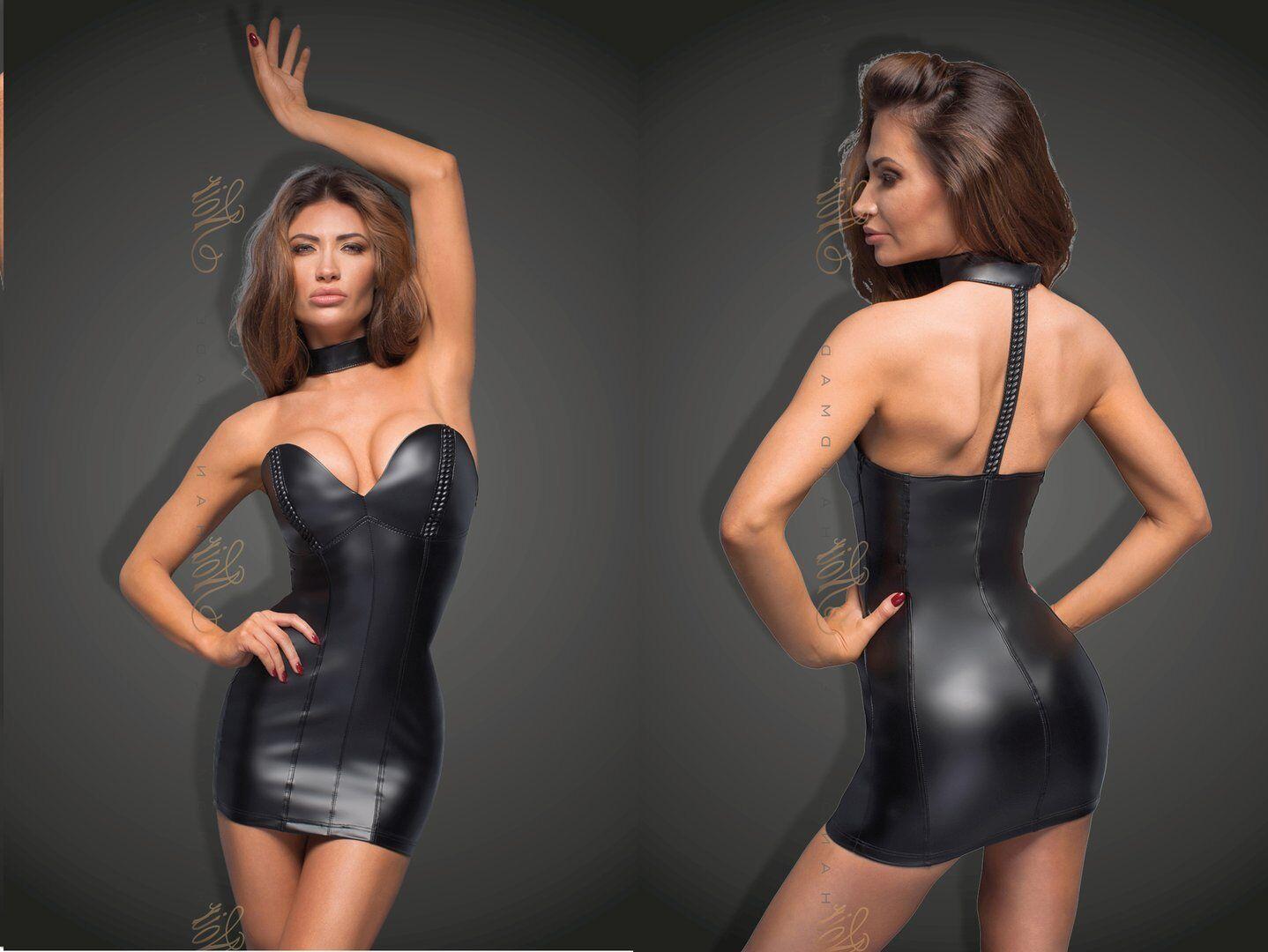 schwarz HANDMADE POWERWETLOOK KLEID minikleid wetlook schwarz kunstleder clubwear